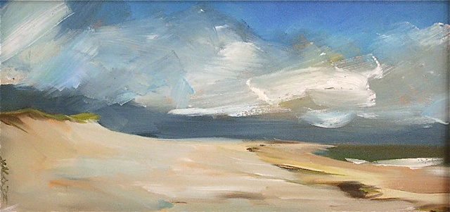 "Jo Brown, ""Storm,"" oil on canvas board, 8"" x 16"" (2010)"
