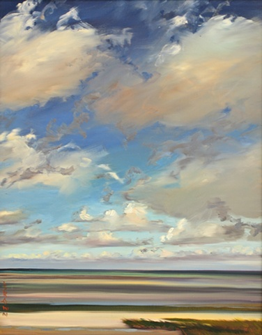 "Jo Brown, ""Cloud Lanes,"" (2011), 20"" x 16,"" oil on archival canvas board"