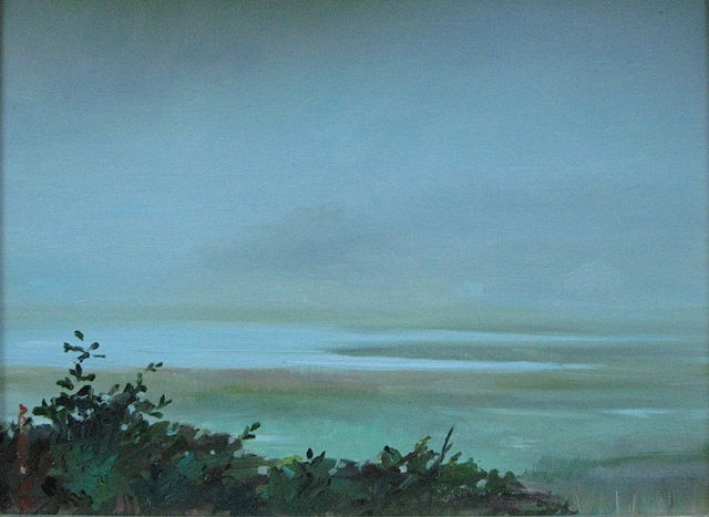 "Jo Brown, ""Fog,"" (2009), oil on archival canvas board, depicting view from Wellfleet cabin in fog"