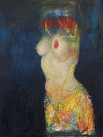 Contemporary Nude oil painting, Body Suit, Colour, physical existence