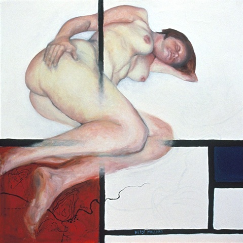 Mondrian Nude 2,oil painting, Highly Commended - Pinjarrah Art Award