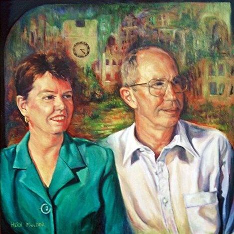 Portrait painting of Mayor, Chris Elliot and Anne Elliot