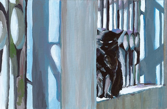 Painting by Qing Song, Acrylic Painting on Paper by Qing Song, Cat Painting by Qing Song