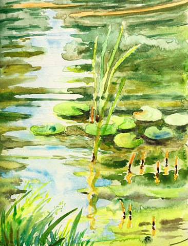 Watercolor Painting by Qing Song, Landscape Watercolor Painting by Qing Song