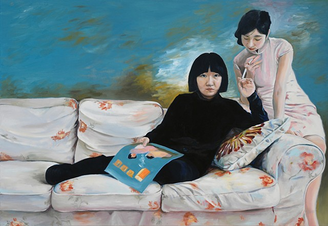 oil painting by Qing Song, Cigarette Girls