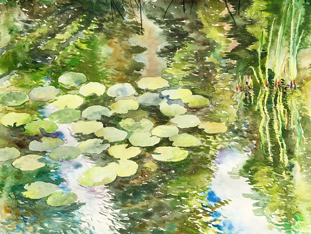 watercolor by Qing Song, painting by Qing Song, landscape painting by Qing Song