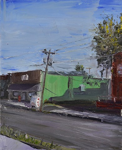 Victoria KS, ice cooler, power lines, green, blue, tree, plein air