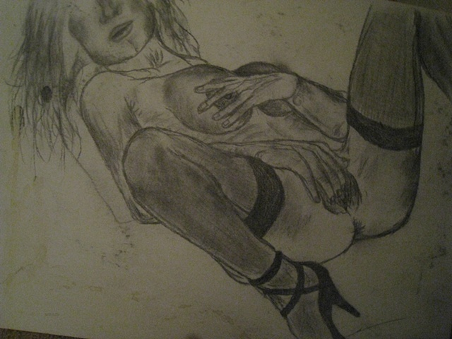 Sketch of a woman, black and white