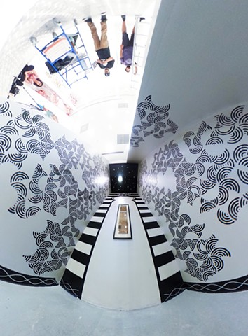"""Cardboard Revival: South Bay Galleria, Redondo Beach"" 360 degree view of installation from floor with entrance on upper left"