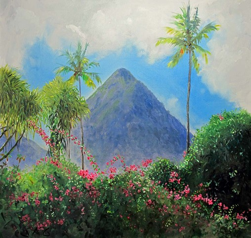 Gros Piton with Bougainvillea