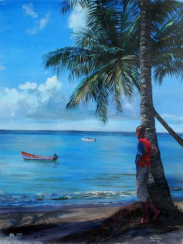 5. Boy Beside Coconut Tree