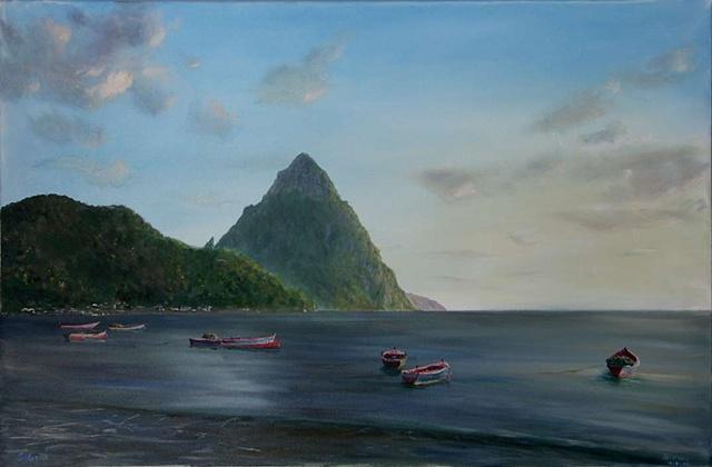 Petiti Piton with Boats