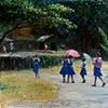 26. Pink Umbrellas and Blue Uniforms