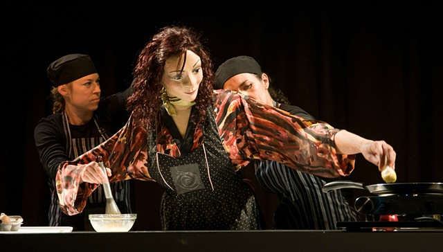 Pippa Corelli puppet, operated by Kirsty Grierson and Melinda Mills.