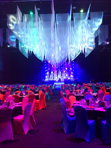 Theming for Rock'n'Roll dinner at the Adelaide Entertainment Centre.