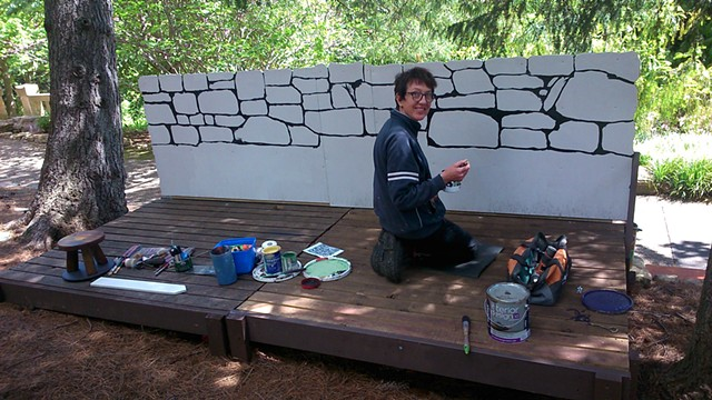 Painted set for Robin Hood 2014 Royal Tasmanian Botanic Gardens