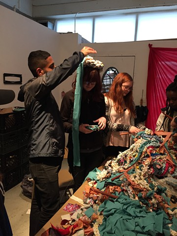 Crochet Jam with Vanderbilt University students on Alternative Spring in San Francisco at the Luggage Store Gallery Annex