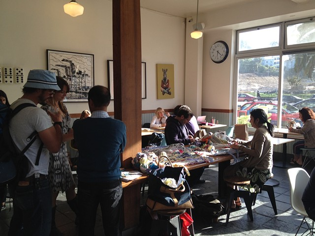 Crochet Jam, Delores Park Cafe, SF sponsored by ArtSpan