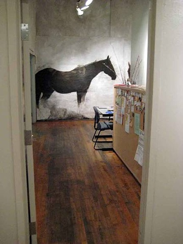 "life-size paintings of horses for an installation environment ""Point Reyes Station 4:10 p.m. by Eugenia Mitsanas."""