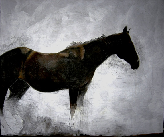 life-size painting of dark horse by Eugenia Mitsanas