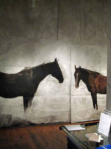 """life-size paintings of horses for an installation environment """"Point Reyes Station 4:10 p.m."""" by Eugenia Mitsanas"""