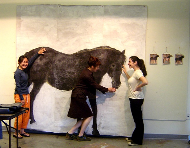 Interaction with life-sized painting of Black Horse by Eugenia Mitsanas in classroom