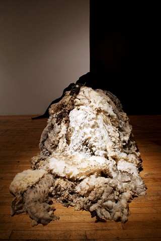 """raw wool sculpture in MFA graduate exhibition installation environment """"When the Barn Burns Down..."""" by Eugenia Mitsanas"""