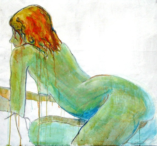 painting of reclining nude resting on elbows by Eugenia Mitsanas