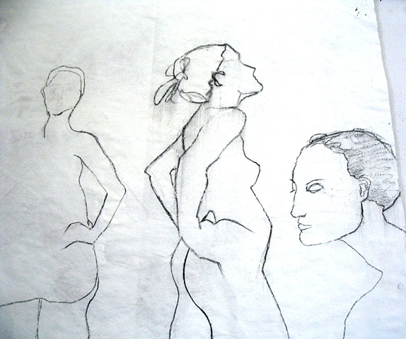 charcoal drawing study of  three female nudes by Eugenia Mitsanas