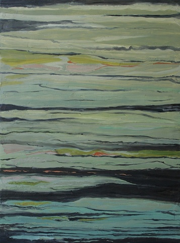 textural abstract painting in green tones, visual suggestion of bamboo granite