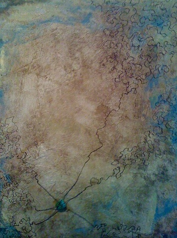 abstract mixed media containing an actuall stone and waxed cord