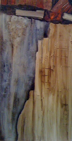 textural warm tones in abstract painting suggesting rock formations