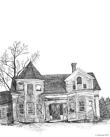 A pen and ink drawing of an old, falling down house on Rte. 1 in Maine by Leslie Moore of PenPets.