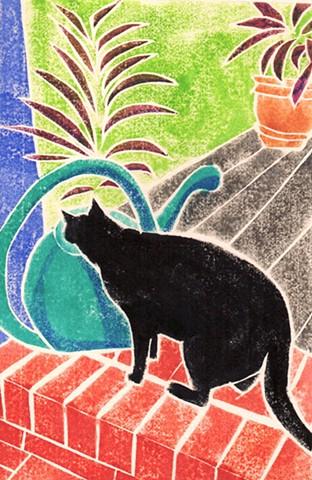 a white-line woodblock print of a black cat drinking out of a green watering can by Leslie Moore of PenPets