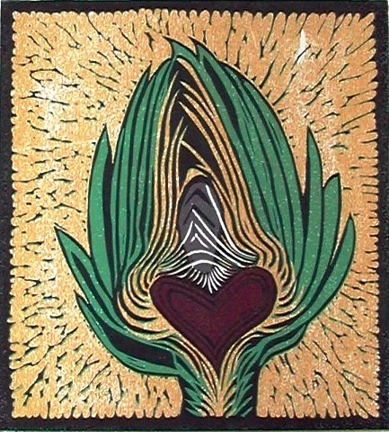 a reduction woodcut of an artichoke halved with a red heart at its center by Leslie Moore of PenPets