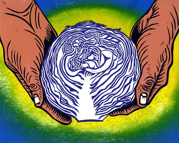 a multi-color linocut with a rainbow background of two hands holding a purple cabbage cut in half with the purple lines showing by Leslie Moore of PenPets