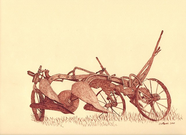 a sepia pen and ink drawing on cream paper of an old sulky plow by Leslie Moore of PenPets