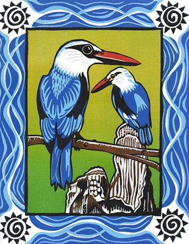 reduction linocut, birds, kingfishers, Halcyon kingfishers, bird art, linoleum block print, PenPets