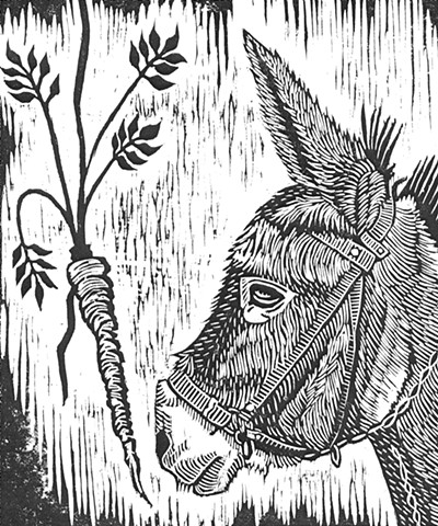 a woodcut of a donkey's head facing a dangling carrot by Leslie Moore of PenPets