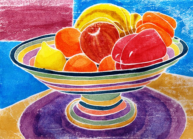 a white-line woodblock print of a colorful fruit bowl holding fruit Leslie Moore