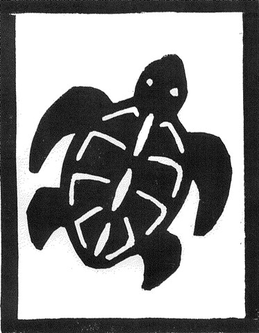 a woodcut of a turtle by Leslie Moore of PenPets