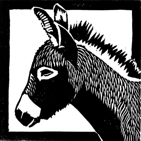 a woodcut of a donkey by Leslie Moore of PenPets
