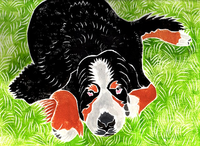 a white-line woodblock print of a Bernese Mountain Dog by Leslie Moore of PenPets