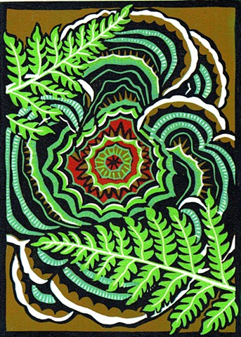 linocut, Turkey Tail Bracket, fungi