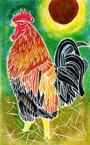 a white-line woodblock print of a rooster by Leslie Moore of PenPets