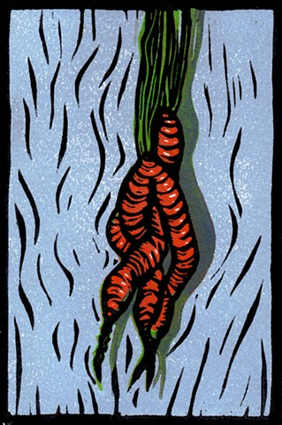 a reduction linocut of twisted carrots by Leslie Moore of PenPets