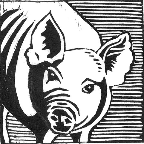 a woodcut of a pig by Leslie Moore of PenPets