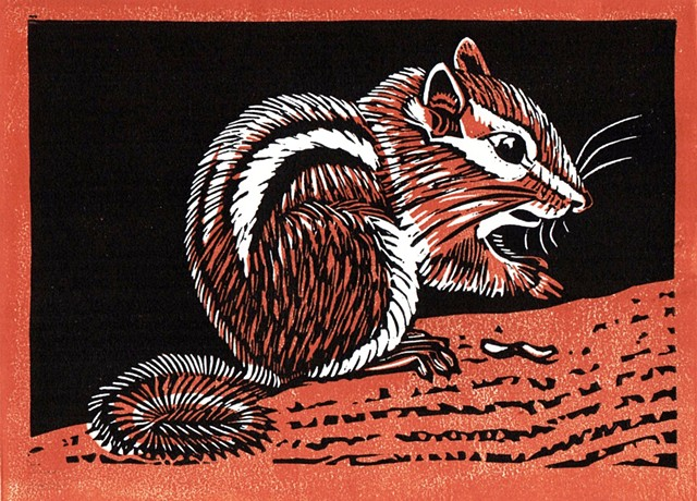a chiaroscuro linocut of a chipmunk by Leslie Moore of PenPets