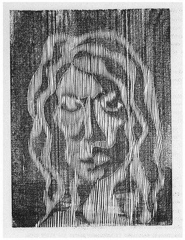 a woodcut self-portrait of a woman by Leslie Moore of PenPets