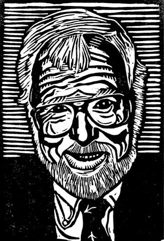 a black linocut portrait of a white-haired, white-bearded man by Leslie Moore of PenPets